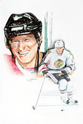 Blackhawks Mixed Media - Marian Hossa-- Big Hoss by Jerry Tibstra