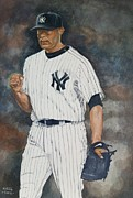 Major League Baseball Painting Prints - Mariano Print by Nigel Wynter