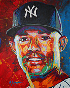 Major League Baseball Paintings - Mariano Rivera by Maria Arango
