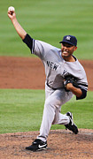 National League Prints - Mariano Rivera throwing the ball Print by Sanely Great