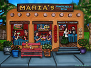 Native Americans Painting Framed Prints - Marias New Mexican Restaurant Framed Print by Victoria De Almeida