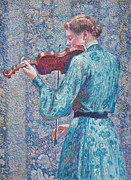 Green Dress Framed Prints - Marie Anne Weber playing the violin  Framed Print by Theo van Rysselberghe