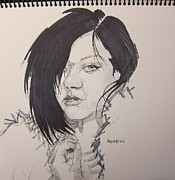 Ink Drawings - Marie Clare by Ray Agius