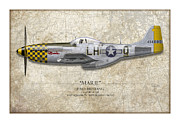 P51 Mustang Digital Art Posters - Marie Map Poster by Craig Tinder