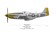 P51 Mustang Art - Marie P-51 Mustang - White Background by Craig Tinder