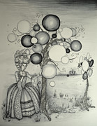 Bubbles Drawings Prints - Maries Dreamland Print by Lucy Stephens
