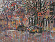 Traffic Drawings Prints - Marietta Square Print by Donald Maier
