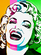 Female Legends Digital Art Prints - Marilyn Color Blocked Print by Colleen Kammerer