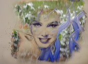 Watercolor  Glass Art Posters - Marilyn Glass Art 2 Poster by Ruta Naujokiene