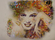 Watercolor  Glass Art Posters - Marilyn Glass Art Poster by Ruta Naujokiene