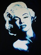 Icons Prints Painting Prints - Marilyn in blue Print by Matt Laseters BZRROindustries