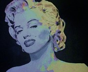Actress Mixed Media Framed Prints - Marilyn in Purple Framed Print by Dan Twyman