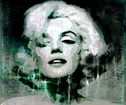 Superstar Mixed Media Prints - Marilyn Print by Kim Gauge