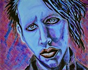 Eyeliner Framed Prints - Marilyn Manson Framed Print by Shirl Theis