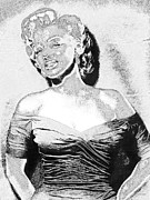 Black And White Photos Digital Art Prints - Marilyn Monroe 20130329 black and white Print by Wingsdomain Art and Photography