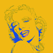 Shoulder Digital Art Metal Prints - Marilyn Monroe 20130331v2 square Metal Print by Wingsdomain Art and Photography