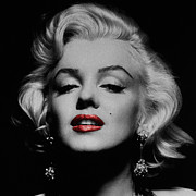 Red Lips Prints - Marilyn Monroe 3 Print by Andrew Fare