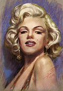 Singer Drawings - Marilyn Monroe by Viola El