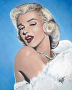 Movie Star Paintings - Marilyn Monroe - Blue Backround by Tom Carlton