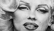 Baker Drawings Prints - Marilyn Monroe - Close Up Print by Jani Freimann