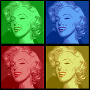 Award Digital Art Posters - Marilyn Monroe Colored Frame Pop Art Poster by Daniel Hagerman