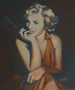 Red Dress Pastels - Marilyn Monroe by Dana Lombardo