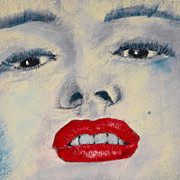 Red Lips Pastels Prints - Marilyn Monroe Print by David Patterson