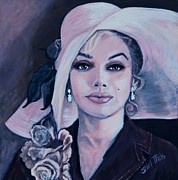 Pin Up Girl Paintings - Marilyn Monroe - Floppy Hat by Shirl Theis