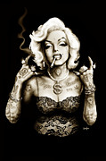 Print Card Framed Prints - Marilyn Monroe Gangster Style Framed Print by Screaming Demons
