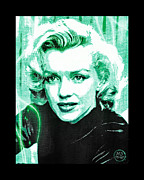 1950s Movies Digital Art Framed Prints - Marilyn Monroe - Green Framed Print by Absinthe Art By Michelle LeAnn Scott