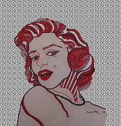 Norma Jean Drawings - Marilyn Monroe Grey by Karen Larter