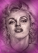 Fame Mixed Media Prints - Marilyn Monroe in Pink Print by J McCombie