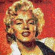 Portraits Paintings - Marilyn Monroe in the way of Arcimboldo by Dragica  Micki Fortuna