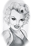 Linda Simon Framed Prints - Marilyn Monroe  Ink Wash Framed Print by Linda Simon