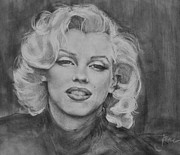 Norma Jean Drawings - Marilyn Monroe by Jani Freimann