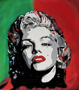 Famous Faces Painting Originals - Marilyn Monroe by Jose Suarez