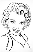 Vintage Metal Prints - Marilyn Monroe Line  Drawing Metal Print by Linda Simon