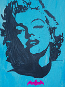 Norma Jean Painting Posters - Marilyn Monroe loves Batman Poster by Robert Margetts