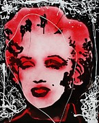Pallet Knife Digital Art Prints - Marilyn Monroe Print by Michael Kulick