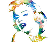 Watercolor Mixed Media Originals - Marilyn Monroe by Mike Maher