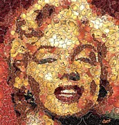 Celebrities Digital Art Prints - Marilyn Monroe on the way of Arcimboldo Print by Dragica  Micki Fortuna