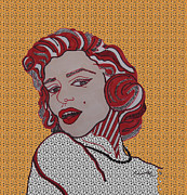 Norma Jean Drawings - Marilyn Monroe Orange by Karen Larter