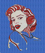 Norma Jean Drawings - Marilyn Monroe Pin Up Blue Edge by Karen Larter