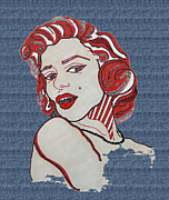 Denim Drawings Posters - Marilyn Monroe Pin Up Denim Poster by Karen Larter