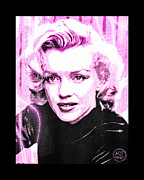 1950s Movies Digital Art Framed Prints - Marilyn Monroe - Pink Framed Print by Absinthe Art By Michelle LeAnn Scott