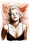Major Drawings Framed Prints - Marilyn monroe pop art drawing sketch portrait Framed Print by Kim Wang