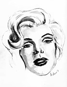 Fifty Shades Of Grey Posters - Marilyn Monroe Portrait in Black and White Poster by Alexandra-Emily Kokova