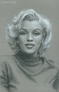 Movie Icon Drawings Posters - Marilyn Monroe Poster by Robert H Sibold