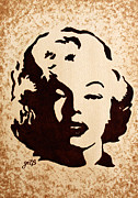 Pop Icon Paintings - Marilyn Monroe Smile original coffee painting by Georgeta Blanaru