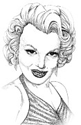 Wall Art Drawings - Marilyn Monroe -Stipple by Linda Simon